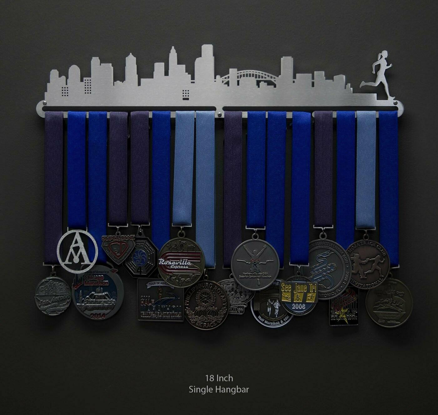 Cityscape Medal Display - Female Runner