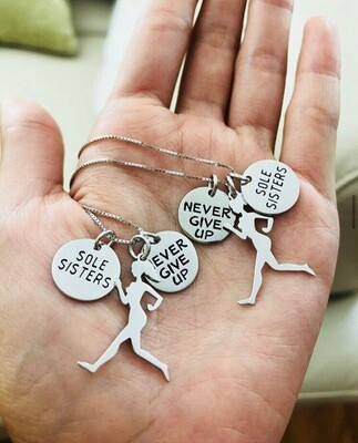 Sole Sisters Never Give Up Running Necklace