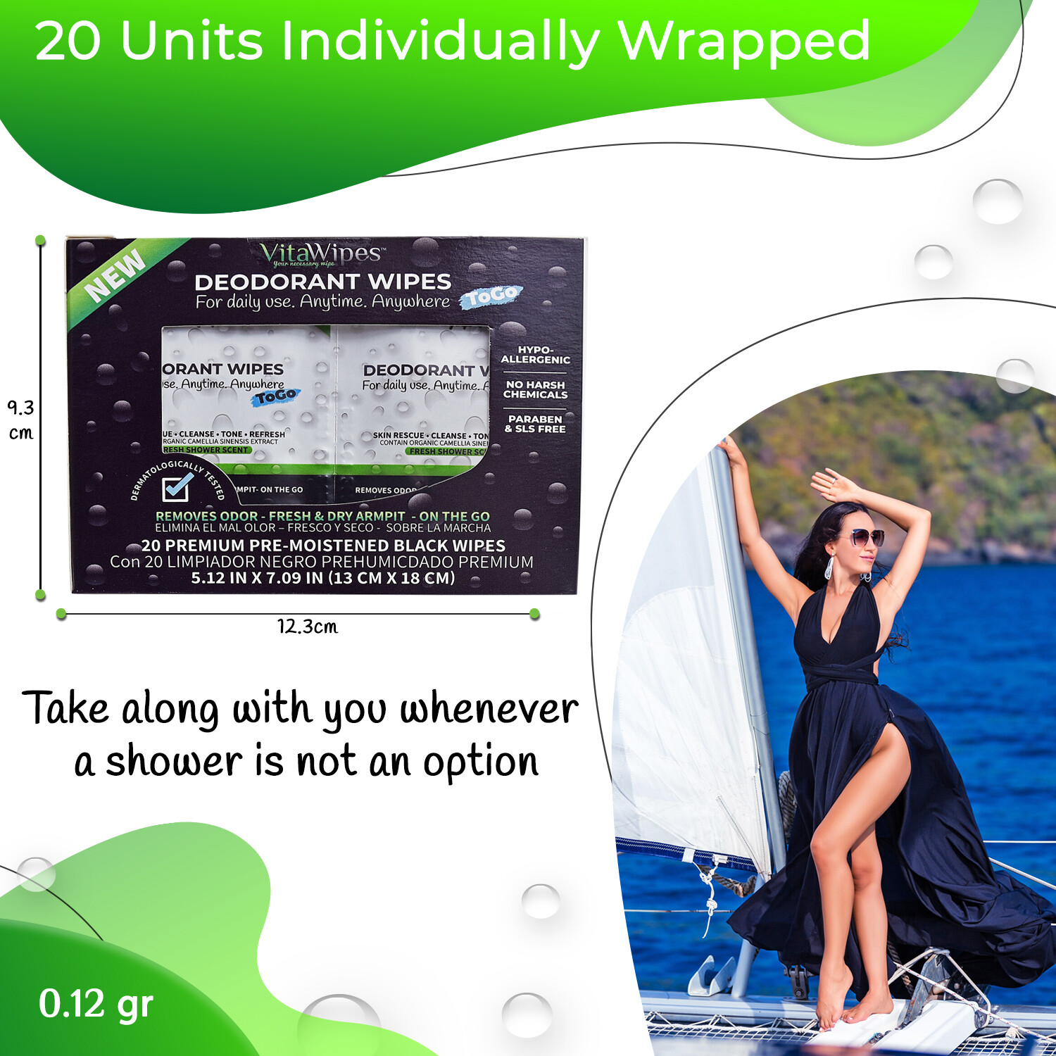 VitaWipes Deodorant Wipes ToGo - 10 Boxes With 20 Sheets individually wrapped in each box (200 sheets Total)