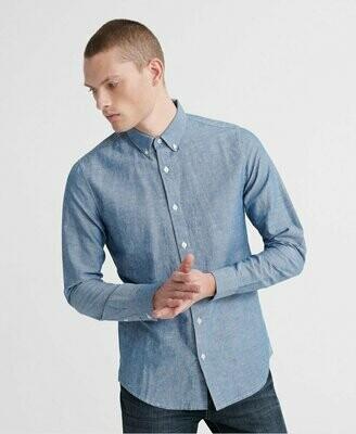 Camisa Edit De Lino Button Down Azul