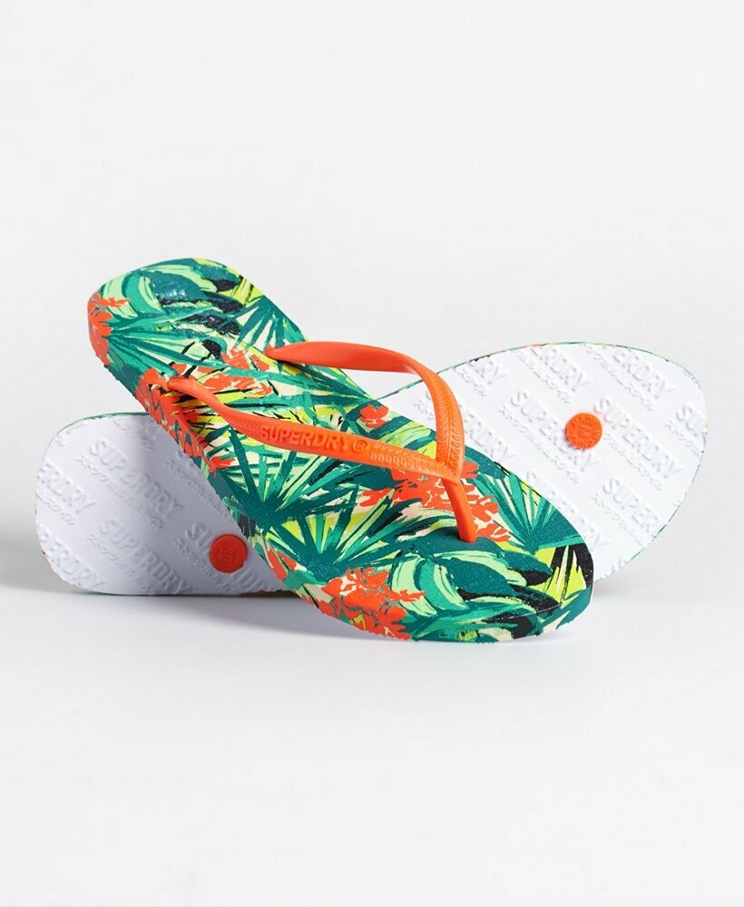 Chanclas estampadas sleek neon tropical