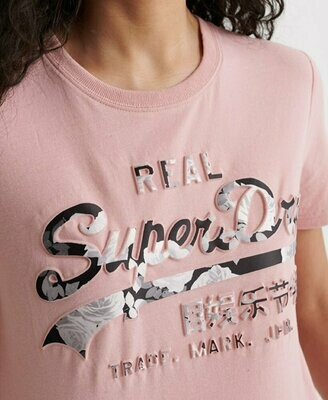 Camiseta Superdry Rosa Con Logo En Relieve