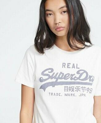 Camiseta Superdry Blanca Con Logo En Vichy