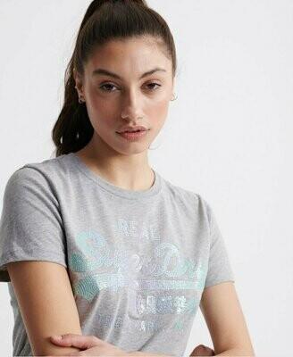 Camiseta Con Lentejuelas y logo Vintage con Pespuntes stitch sequin
