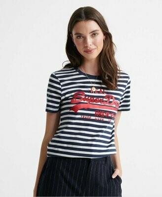 Camiseta Satén Rayas Azules Superdry