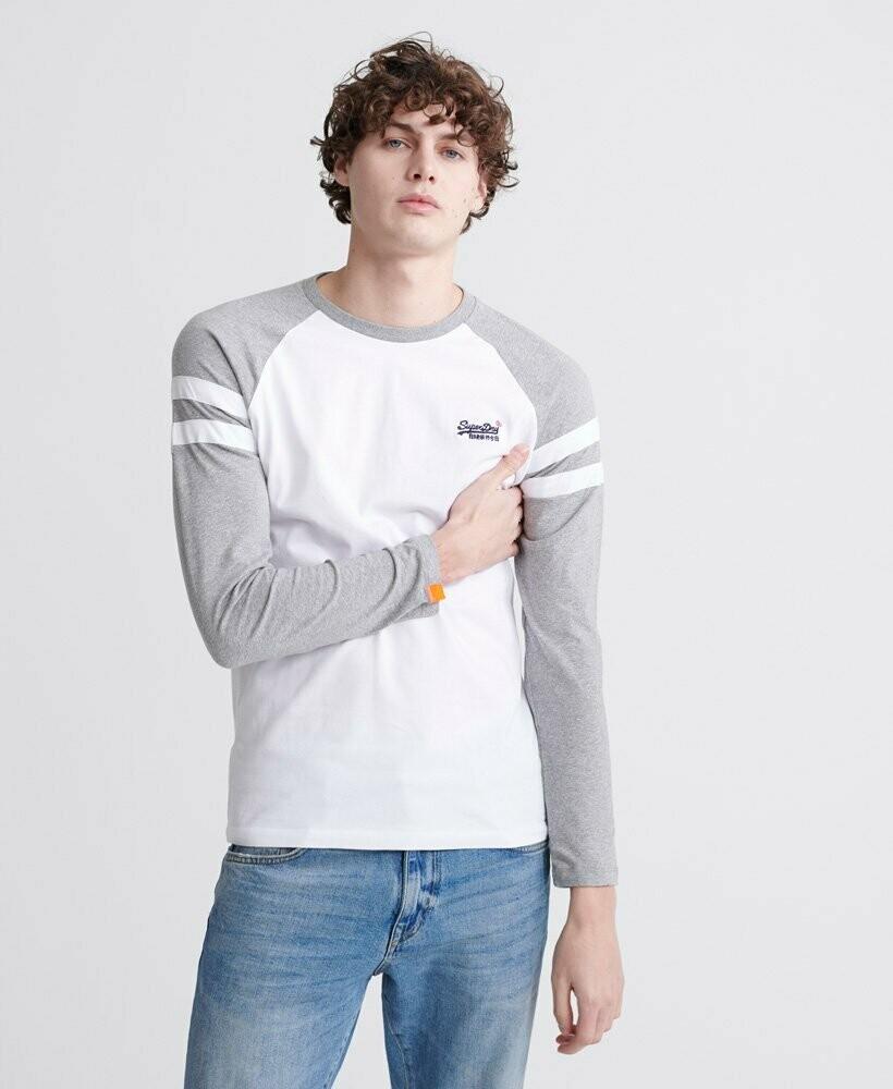 Camiseta manga larga softball ringer algodon organico blanco