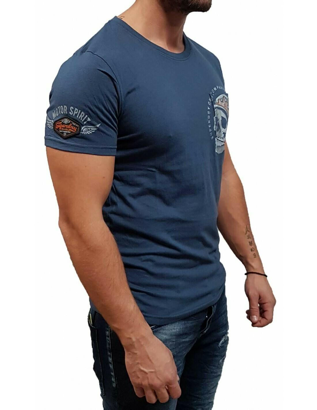 Camiseta Biker Azul Con Bolsillo En El Pecho