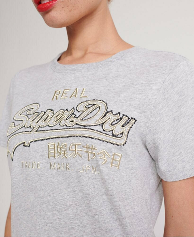 Vintage Logo Embroidery Outline Entry Tee shirt