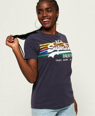Vintage Logo Rodeo Rainbow Stripe Entry rinse navy