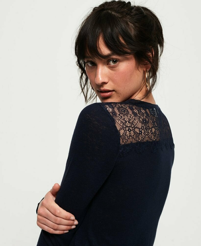 Lace Back Graphic Top Azul