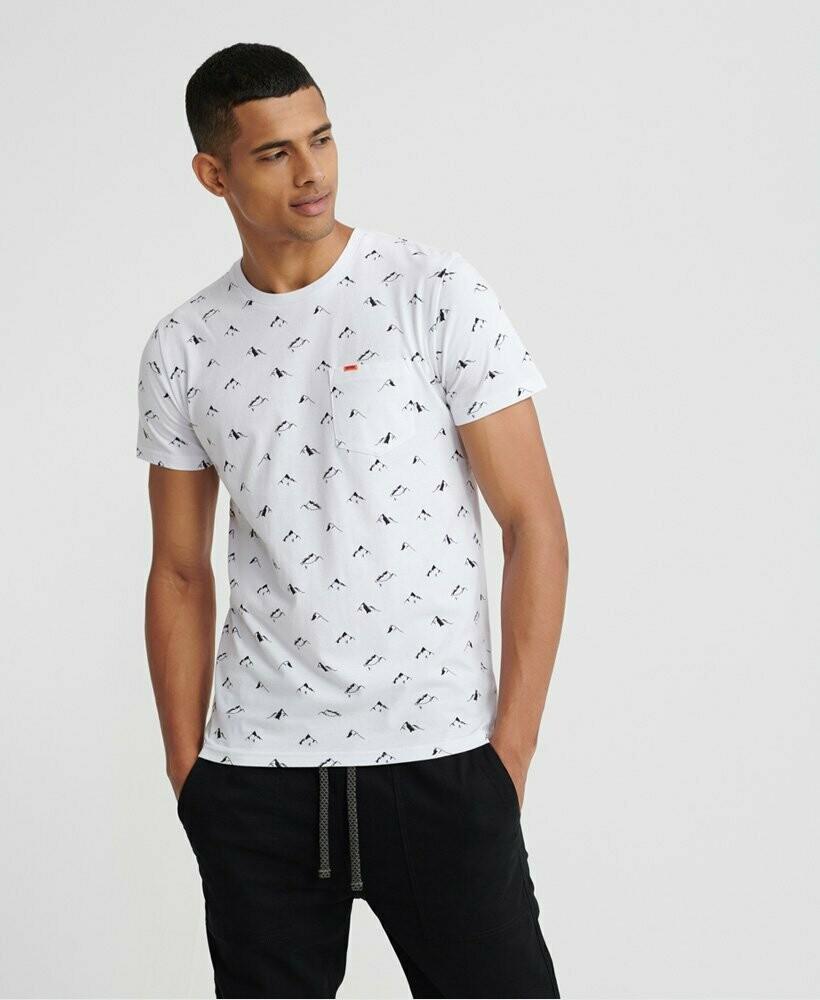 Camiseta Fina Santa Maria Al Over Print Blanca Con Bolsillo