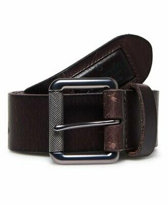 Cinturon Badgeman De Piel 100% Marron Oscuro