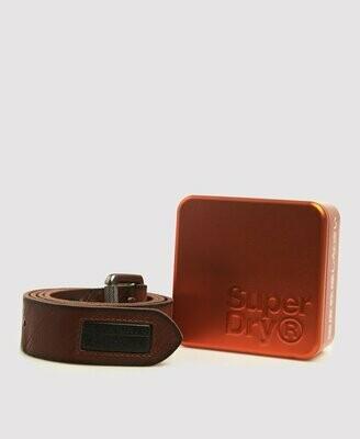 Cinturón lineman de piel 100% marrón en caja de metal