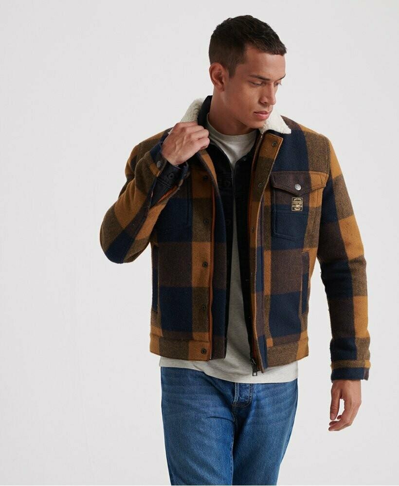 chaqueta de lana de cuadros hacienda