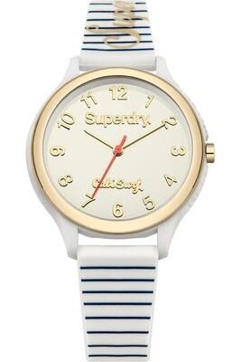 reloj dorado y blanco de mujer