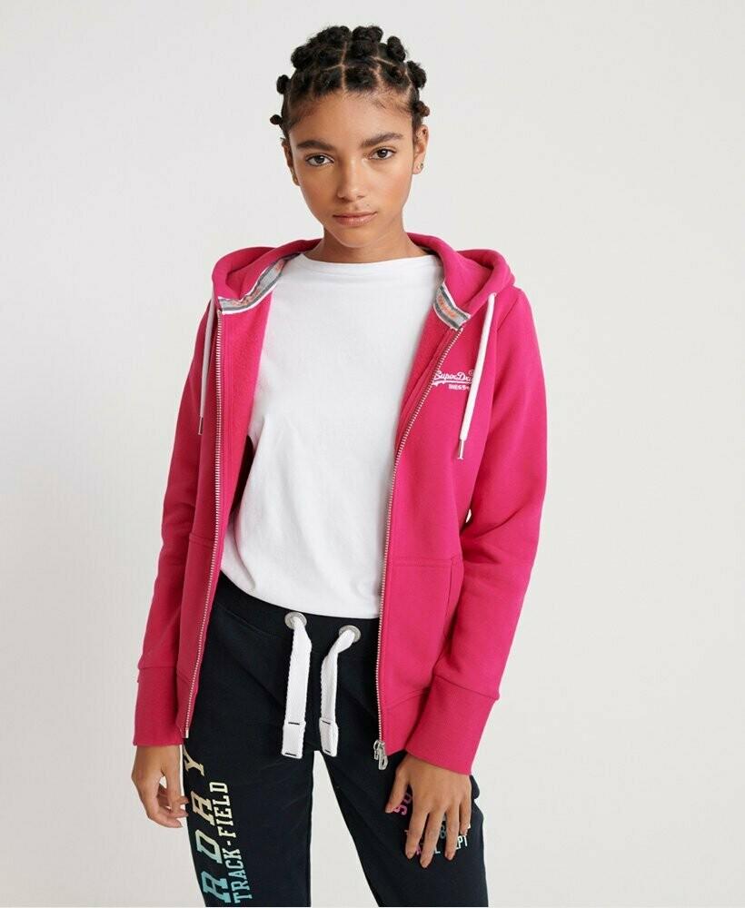 OL Zip Hood sudadera con cremallera pink cabaret
