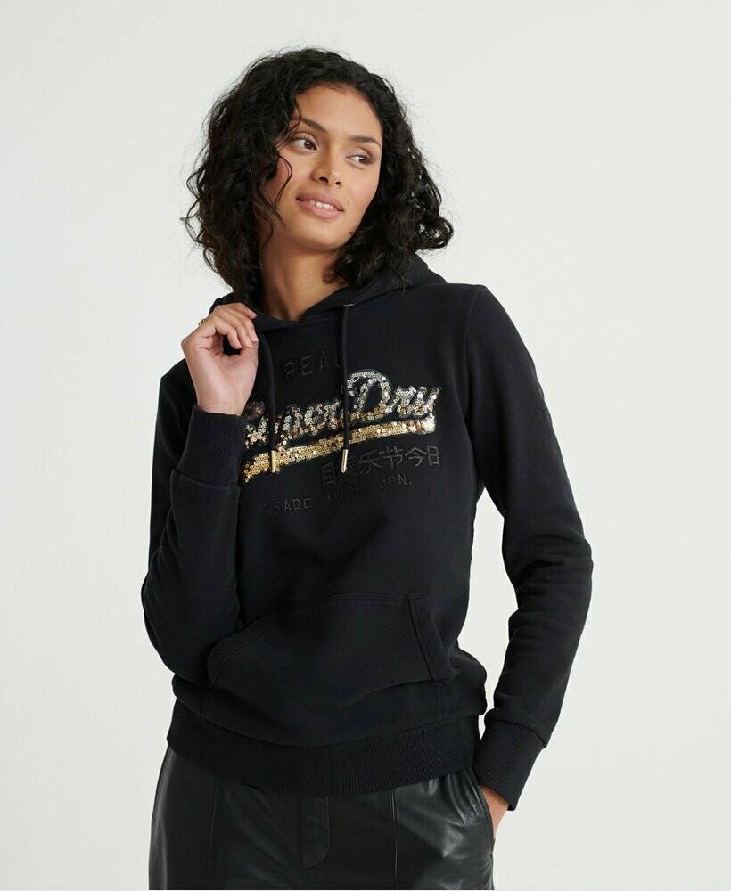Vintage Logo Ombre Sequin Hoodie negro