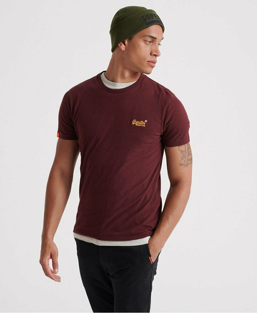 Camiseta Orange Label Vintage  Burdeos Logo Bordado Buck Burgundy Marl