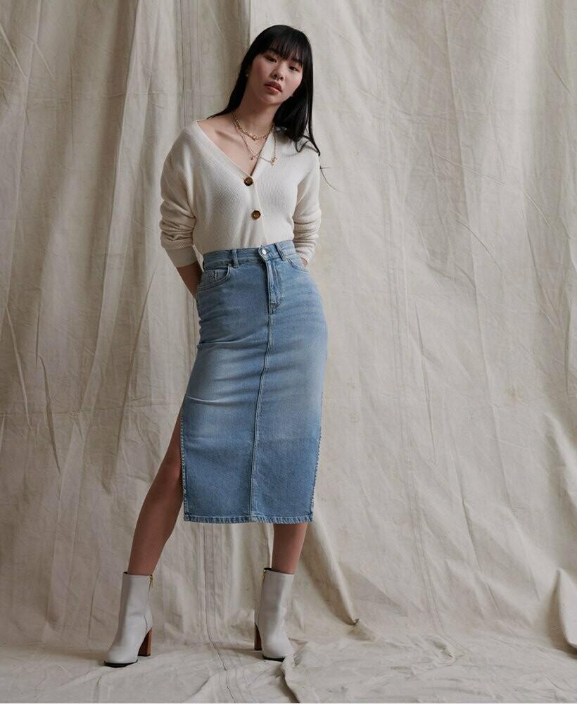Falda Denim Side Split Midi Skirt