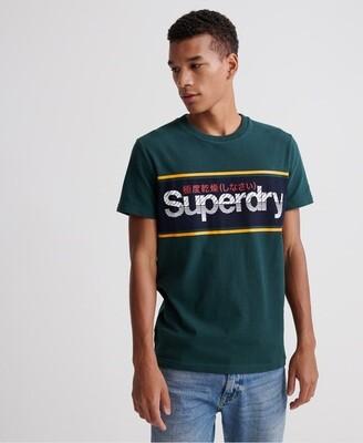 Camiseta Logo Rayado core logo stripe tee academy green