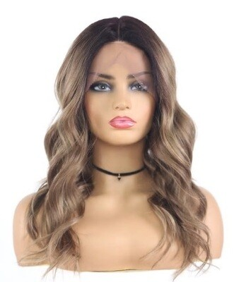 Golden Brown Beachy Wave Lace Front with Pre Plucked  Hair