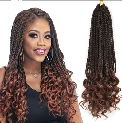 """Box Braid Extensions Curly End Crochet 26"""""""