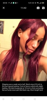 Burgundy Human Hair Lace Front Pre Plucked Hair