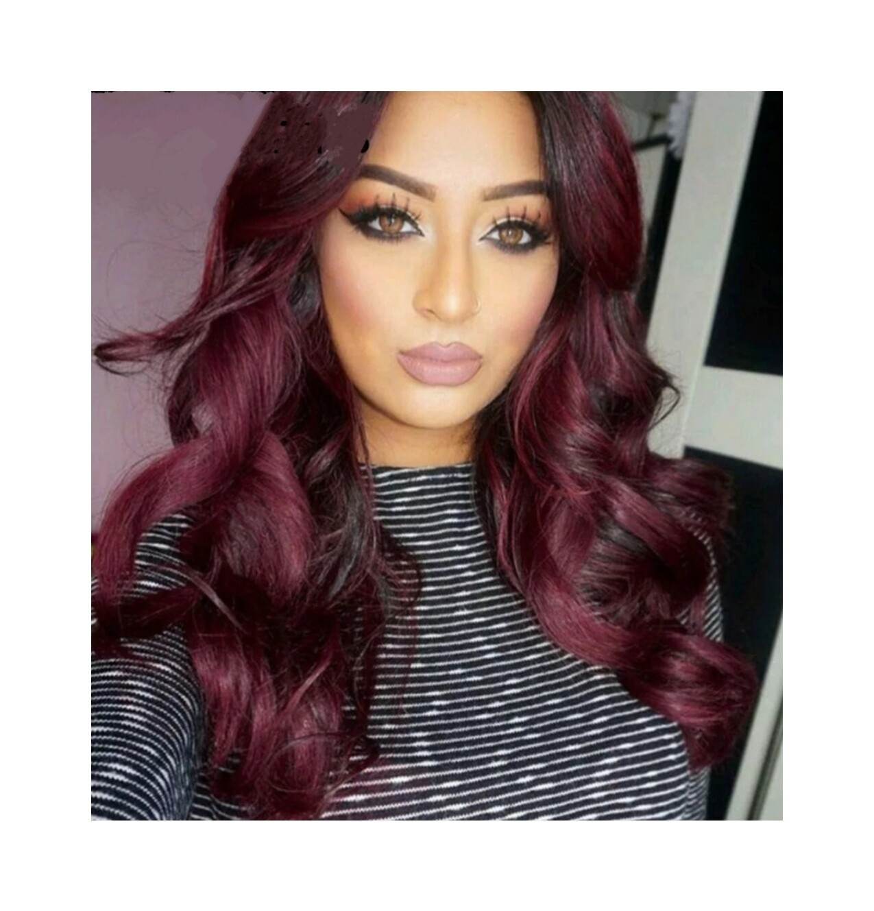 Wine Red Lace Front Wavy