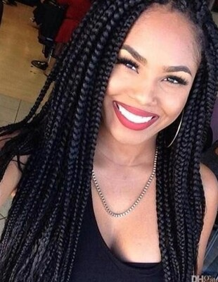 Black Crochet Braided Senegalese Twists Lace Front