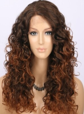 Toffee Brown Ombre Curly Lace Front