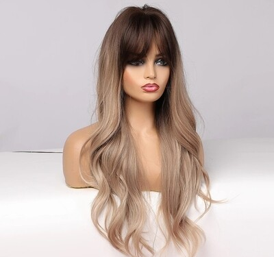 Ashy Blonde Ombre Soft Wave with Fringe