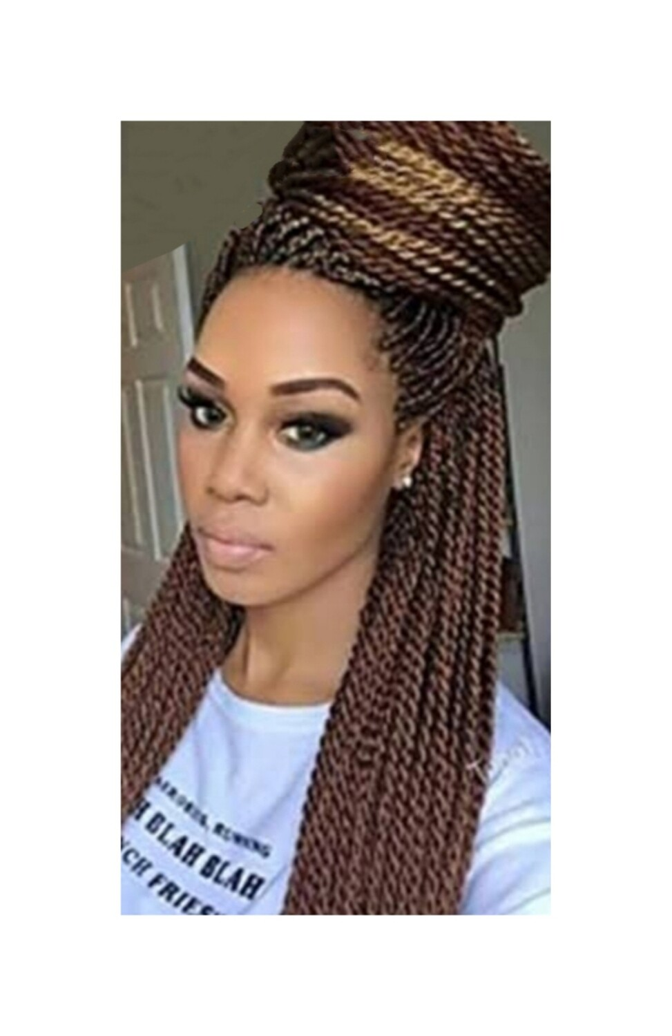 Brown Crochet Braided Senegalese Twists Lace Front with Pre Plucked Hair