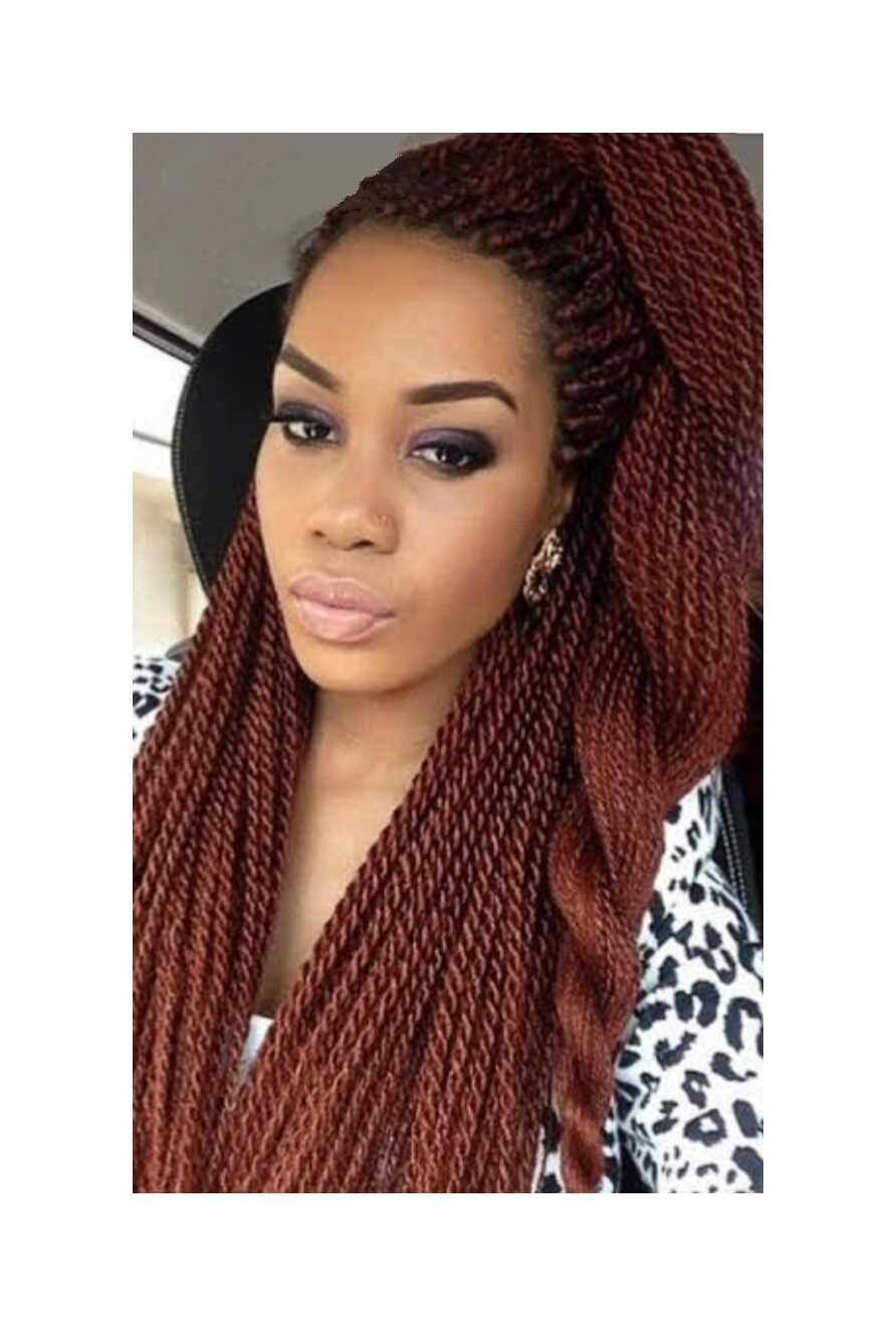 Red Crochet Braided Senegalese Twists Lace Front With Pre Plucked Hair