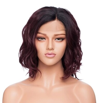 Burgundy Ombre Wavy Lace Front Bob
