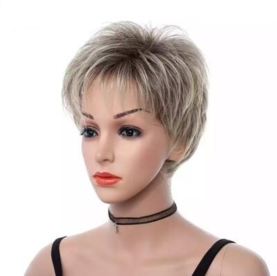 Ash Blonde Highlights Pixie Cut