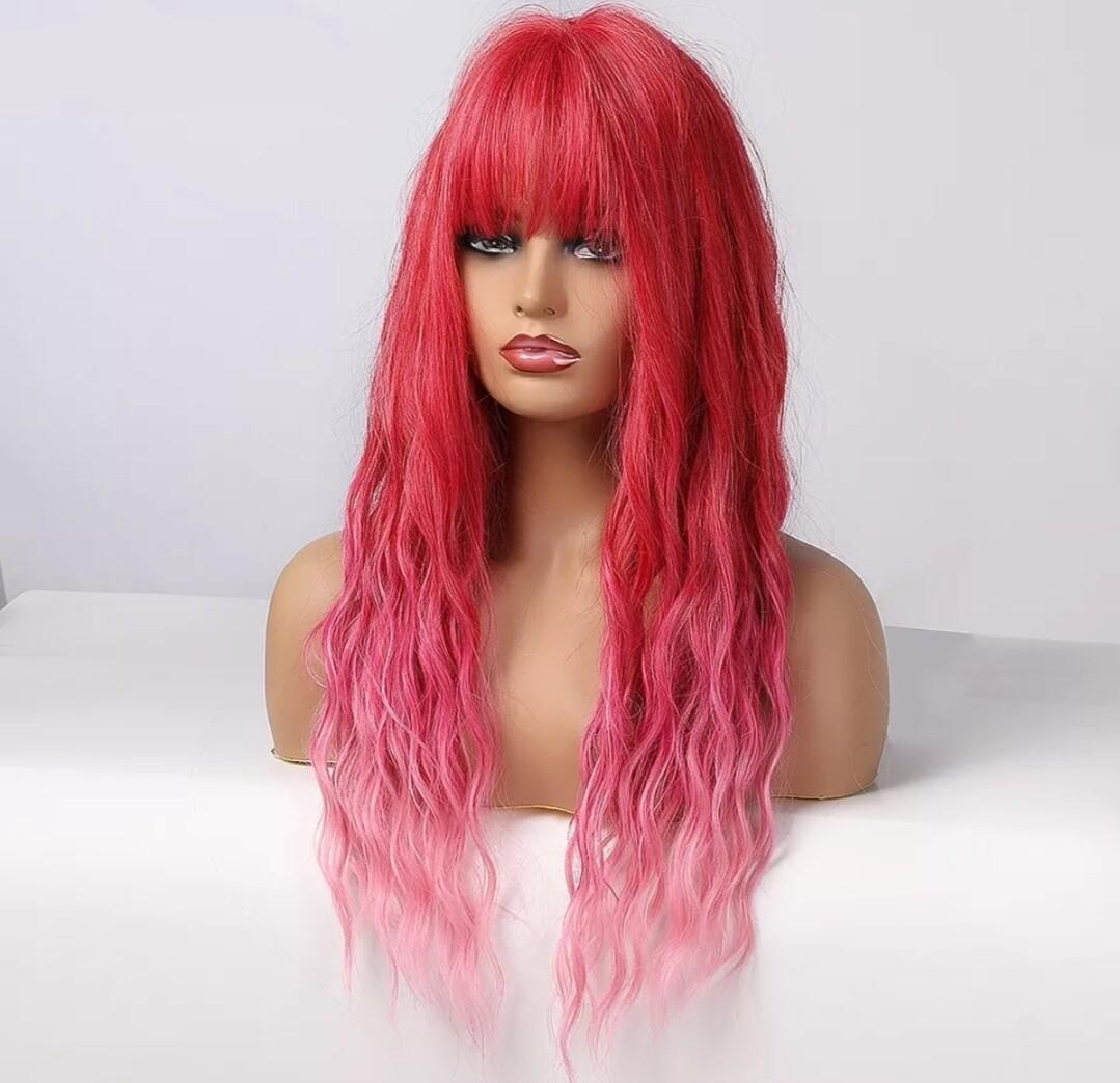 Hot Pink Balayage Water Wave with Fringe