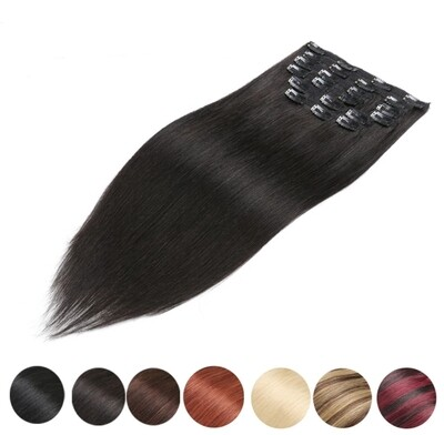 """Clip In Extensions Human Remy Straight 20"""" (7PCS)"""