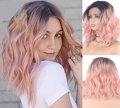 Ombre Pink Beachy Wave Lace Front Bob