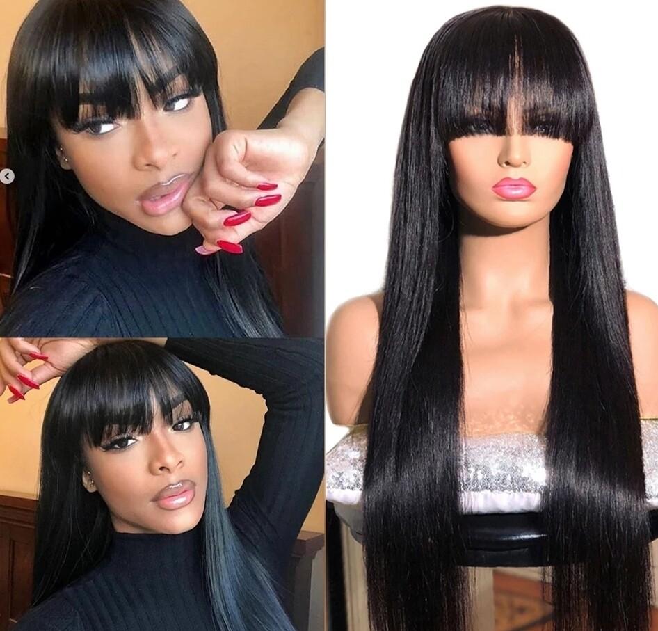 Natural Black Human Hair with Fringe