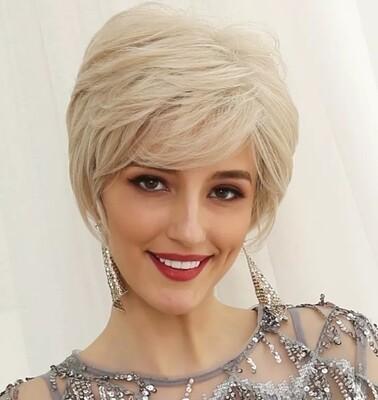 Blonde Human Hair Blend Pixie Cut