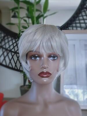 Silver Grey Human Hair Blend Pixie Cut