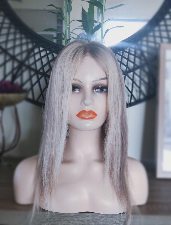"Platinum Blonde Mix Light Brown Human Hair 16"""
