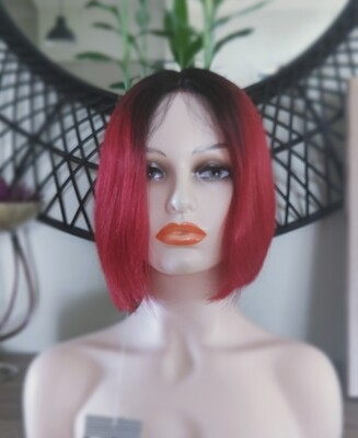 Red Ombre Human Hair Lace Front Bob
