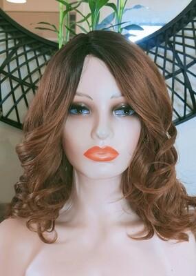 Bridal Curls Light Brown Ombre Side Part Bob
