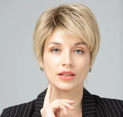 Blonde Highlights Human Hair Blend Pixie Cut