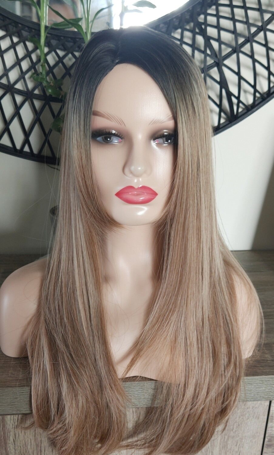 Light Brown Ombre Side Part With Fringe