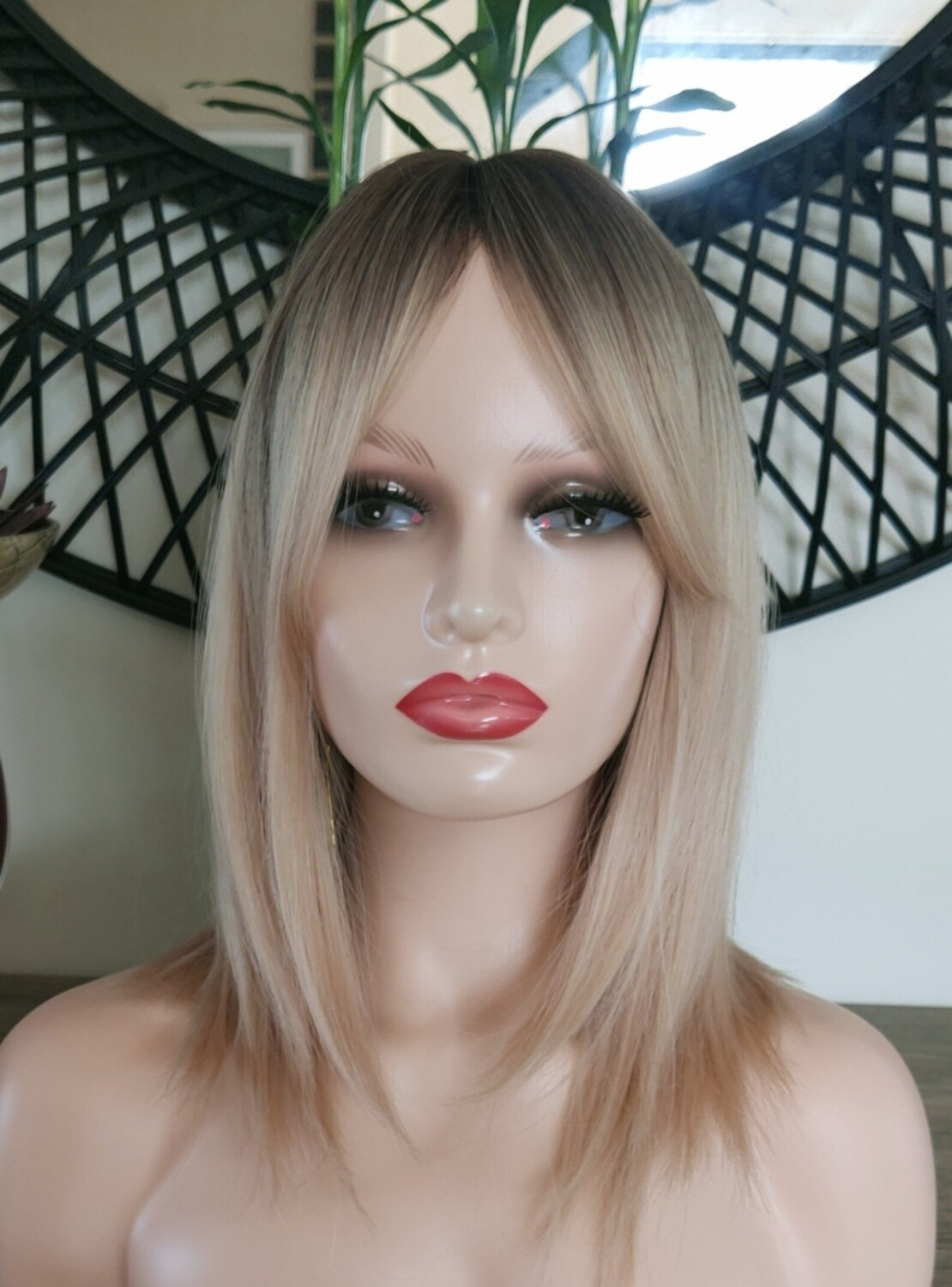 Light Blonde Ombre Layered with Fringe