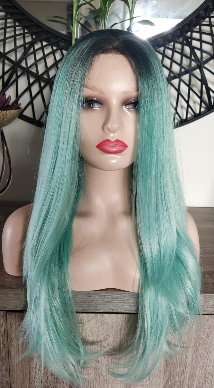Aqua Green Ombre Lace Front Free Part
