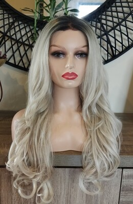 Light Grey Ombre Wavy Lace Front