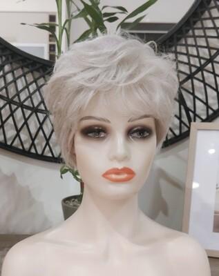 Grey Human Hair Blend Pixie Cut
